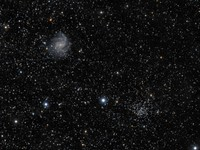 Fireworks Galaxy, Open Cluster and Supernova